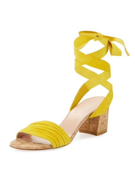 Stuart Weitzman Swiftycork Suede Ankle-Wrap Sandal