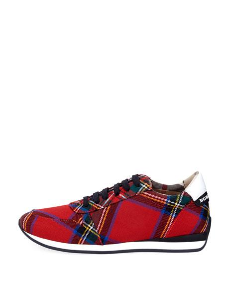 Amelia Tar Tartan Trail Sneakers, Bright Red