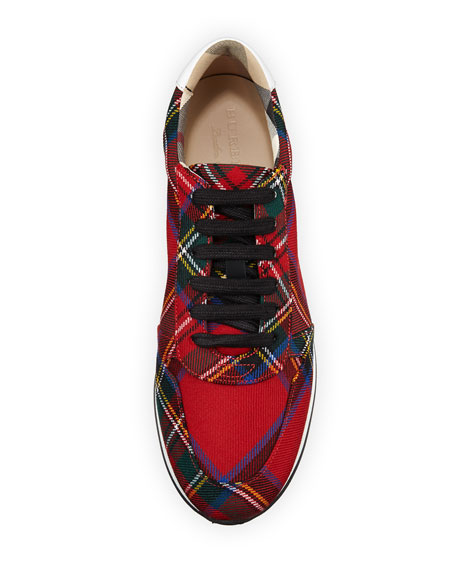 Amelia Tar Tartan Trail Sneaker, Bright Red