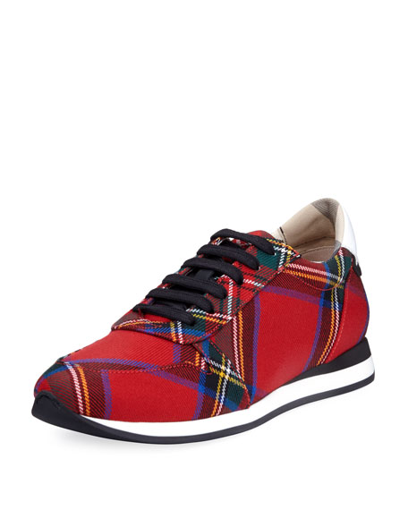 Burberry Amelia Tar Tartan Trail Sneaker, Bright Red