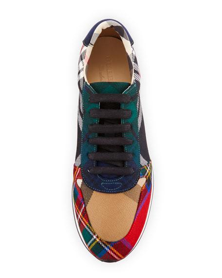 Amelia Tar Tartan Trail Sneaker, Black/Bright Red