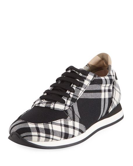 Burberry Amelia Tar Tartan Trail Sneaker, Black
