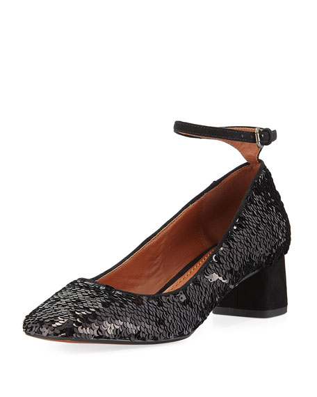 Coach Mary Jane Sequined Ankle-Wrap Pump, Black