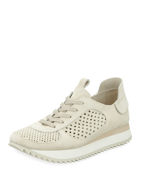 Omega Perforated Runner Sneakers, Chalk