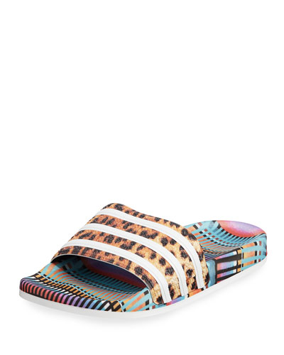 Adilette Bright Leopard-Print Pool Slide Sandals