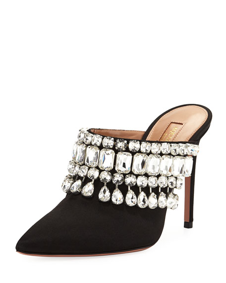 Aquazzura Gem Palace Satin Slide Mule