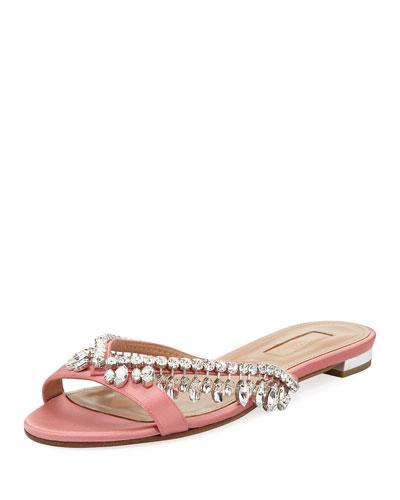 Gem Palace Satin Flat Sandal