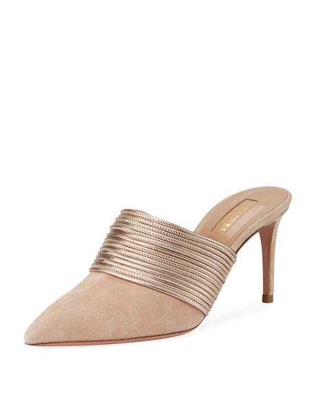 Aquazzura Rendez Vou Metallic-Trim Suede Slide Mule