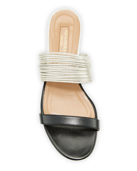 Rendez Vou Two-Tone Flat Slide Sandal