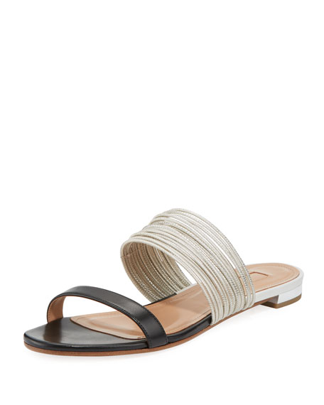 Aquazzura Rendez Vou Two-Tone Flat Slide Sandal