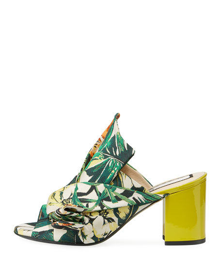 Floral Chunky-Heel Bow Mule Sandal, Yellow Palm