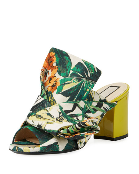 No. 21 Floral Chunky-Heel Bow Mule Sandal, Yellow