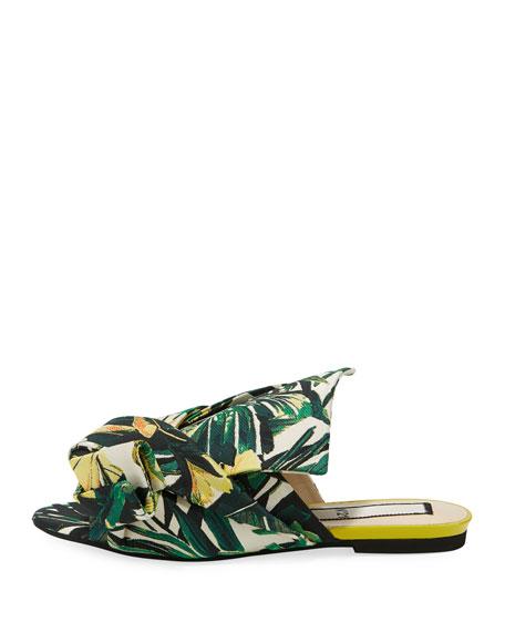 Palm Canvas Flat Bow Slide Sandal