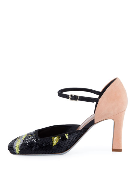 Sequined Square-Toe Pump
