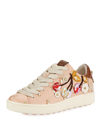 C101 Cherries Patches Platform Sneaker, Light Pink