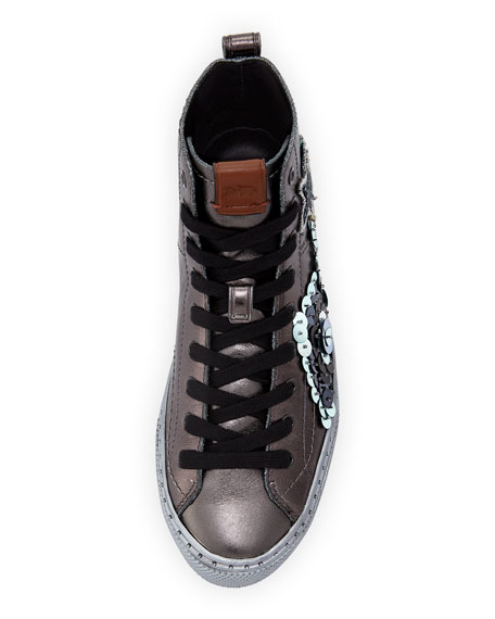 C216 Star Sequin High-Top Sneakers, Gunmetal