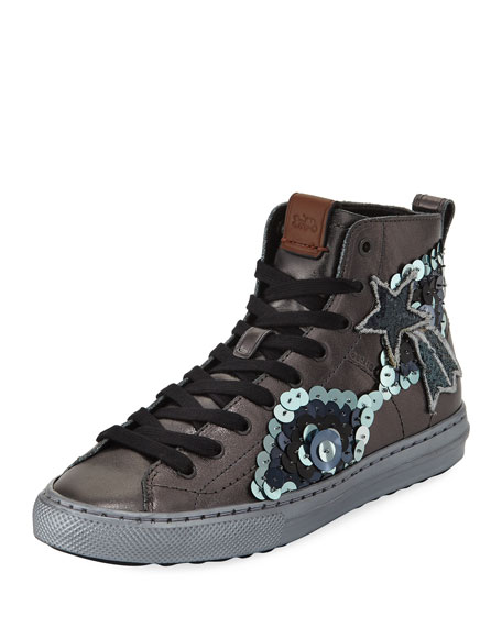 C216 Star Sequin High-Top Sneakers, Gunmetal