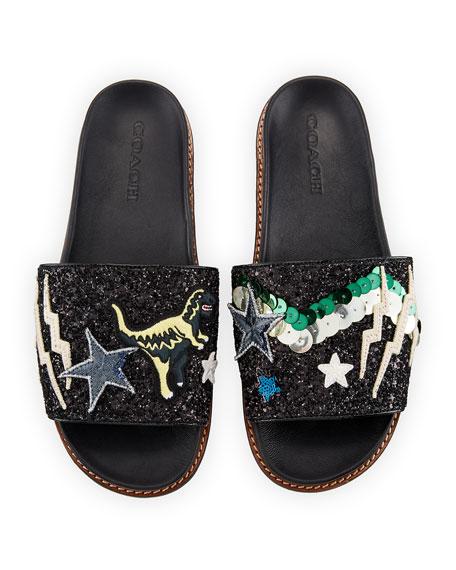 Rexy Glitter Patchwork Sport Slide Sandal