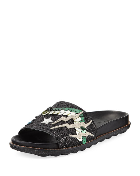 Coach Rexy Glitter Patchwork Sport Slide Sandal