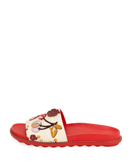 Route 41 Embellished Sport Slide Sandal, Red