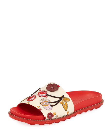 Coach Route 41 Embellished Sport Slide Sandal, Red