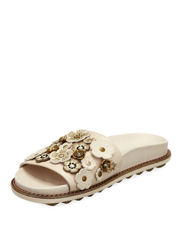 Coach Sport Tea Rose Slide Sandals, White   Neiman Marcus