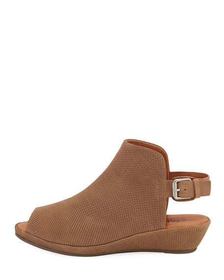 Lyla Demi-Wedge Perforated Sandal, Mushroom
