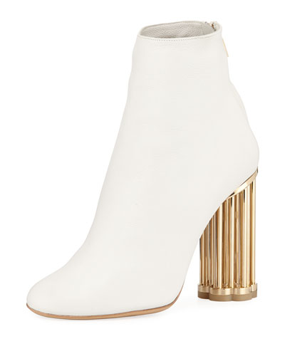 Smooth Leather Bootie with Sculpted Heel