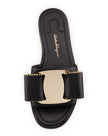 Isera Leather Sandal with Studded Bow