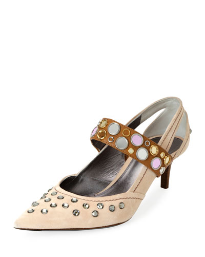 Runway Mary Jane Jeweled Pump, Beige