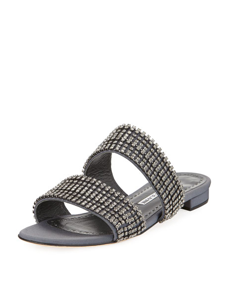 Bulgocri Satin/Crystal Flat Slide Sandal