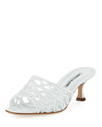 Bensa Cutout Leather Slide Sandal