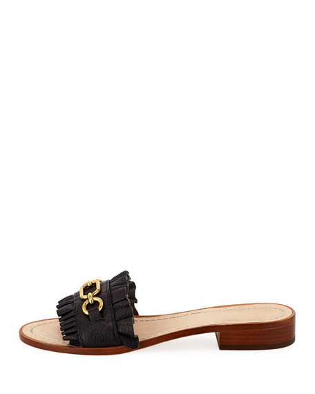 beau pebbled chain slide sandal, black