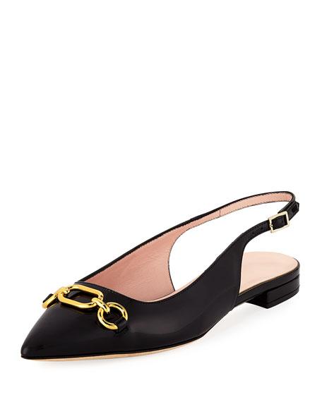 belle slingback patent flat, black