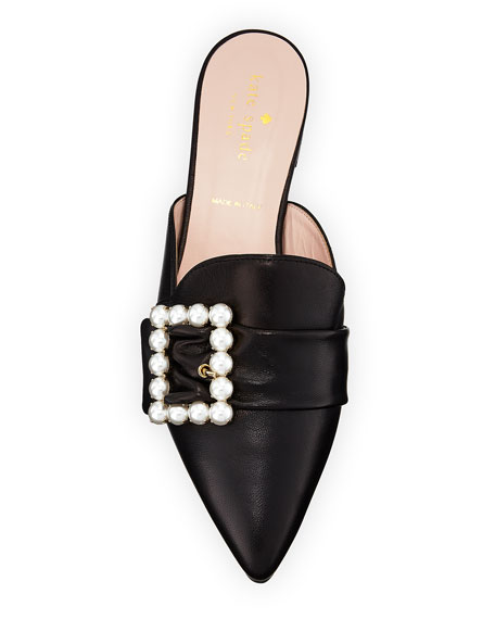 broadway pebbled pearlescent mule, black