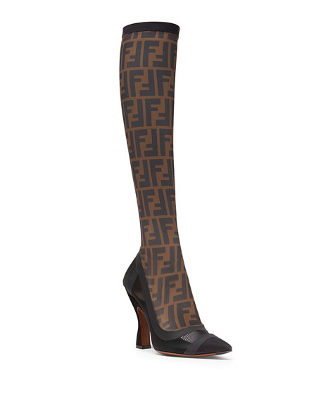 Fendi Runway Knee-High FF Mesh Boot, Black