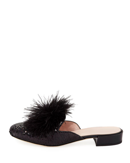 gala sequined feather mule, black
