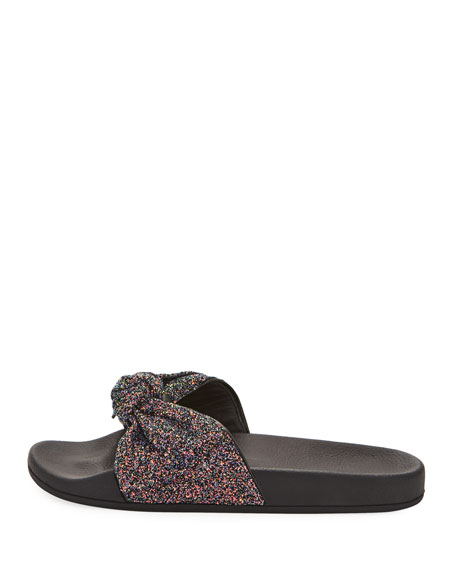 shellie glitter slide pool sandal, navy