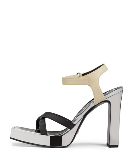 Elongated Colorblock Platform Sandals