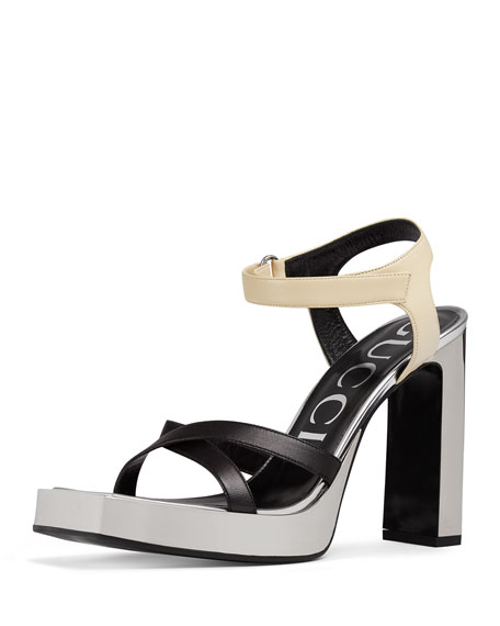 Gucci Elongated Colorblock Platform Sandals