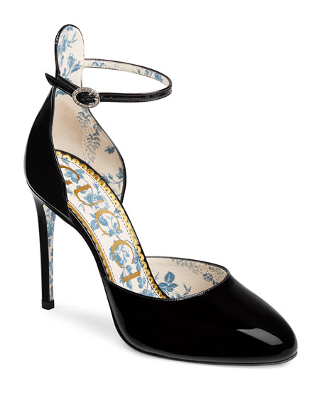 Gucci 105mm Patent Ankle-Strap d'Orsay Pump