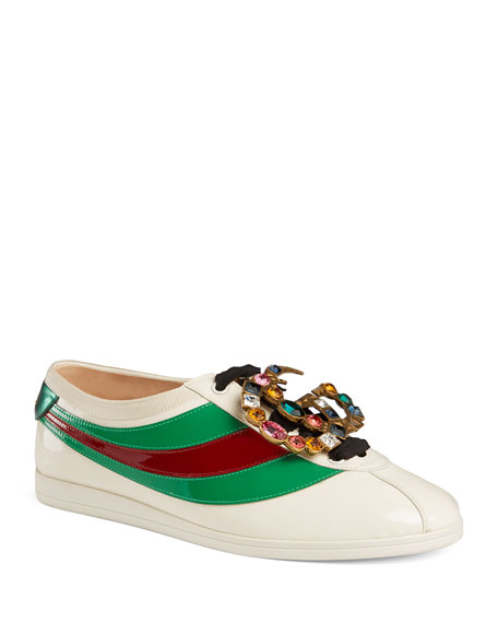Gucci Falacer Patent Jeweled Trainer Sneaker