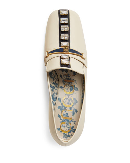 Tiger-Bit Leather Loafer with Jewels