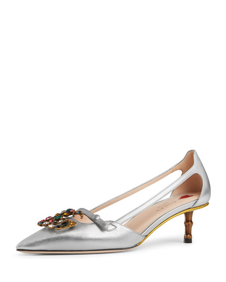 Gucci Jewel-GG Metallic Leather Pump