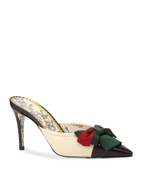 Gucci Jane Leather Cap-Toe Mule with Web Bow
