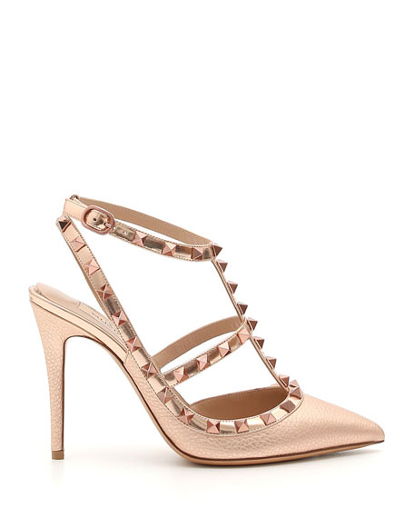 Rockstud Metallic Leather 100mm Pumps - Rose Hardware