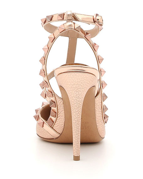 Rockstud Metallic Leather 100mm Pump - Rose Hardware