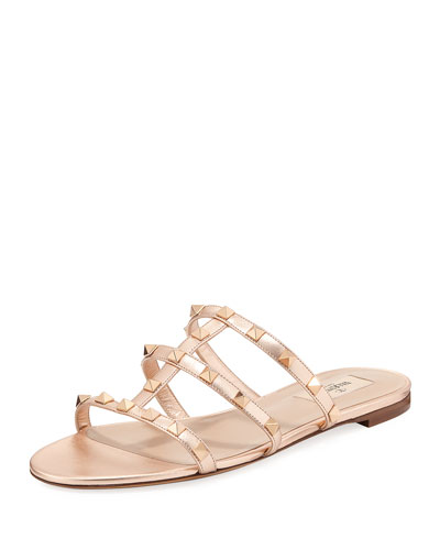 Rockstud Metallic City Flat Slide Sandal