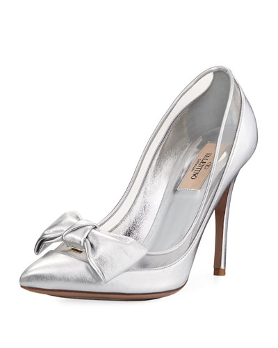 Dolly Bow Metallic Leather Pump