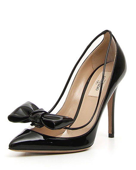 Valentino Garavani DollyBow Patent 105mm Pump, Black